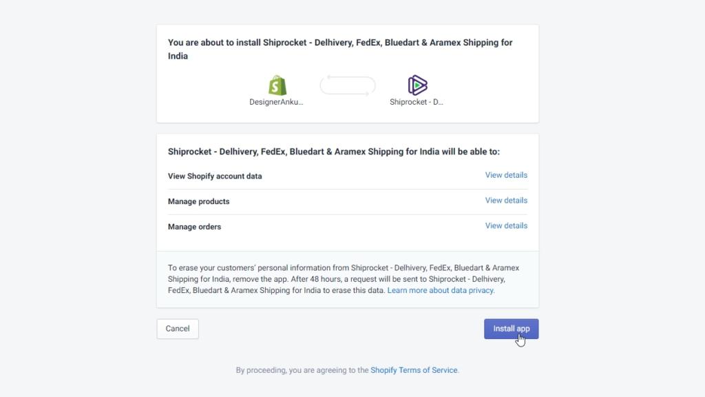 Shiprocket Shopify App India
