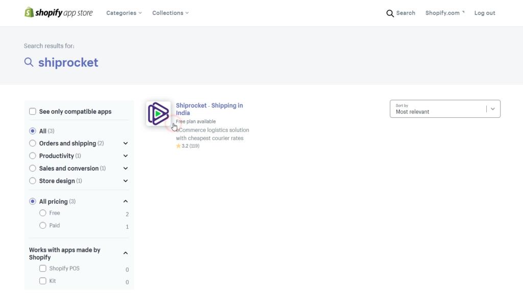 Shiprocket App on Shopify App Store