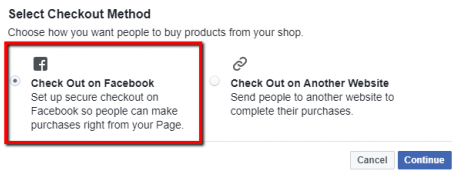 Facebook Shop - Checkout Method Settings