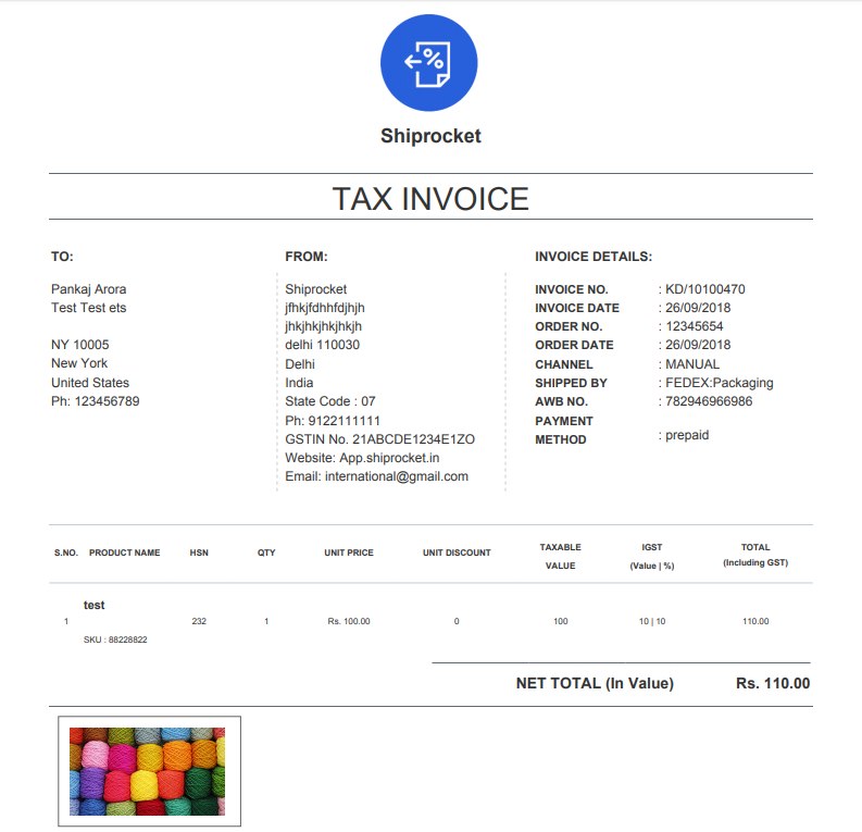 ecommerce invoice online shopping