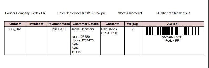 ShipRocket shipment manifest id