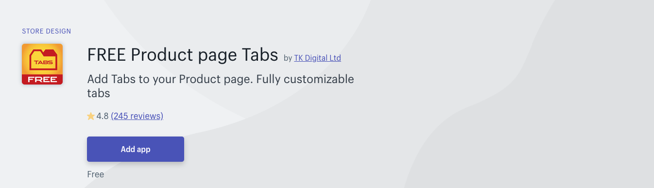 Product page tabs shopify