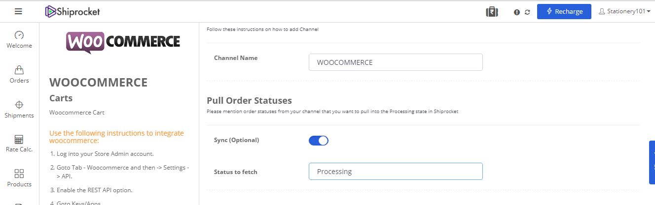 Pull order status