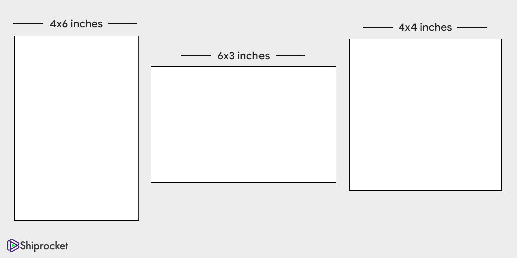 Different label sizes according to industry standards